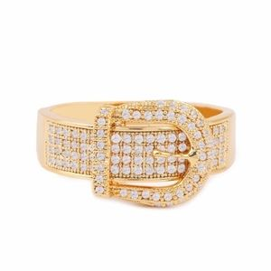 Pave Buckle Ring Gold Tone Sz. 8